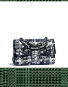 Chanel Black/Navy Blue Embroidered Tweed Medium Flap Bag