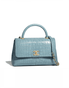 Chanel Blue Alligator Medium Coco Handle Bag