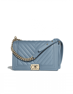 Chanel Blue Boy Chevron New Medium Flap Bag