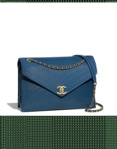 Chanel Blue Lambskin Large Flap Bag