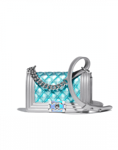 Chanel Blue PVC/Iridescent Patent Boy Water Mini Flap Bag