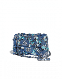 Chanel Blue/Black/White Embroidered Denim/Tweed Mini Flap Bag