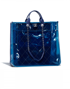 Chanel Blue/Dark Blue PVC Coco Splash Large Shopping Bag