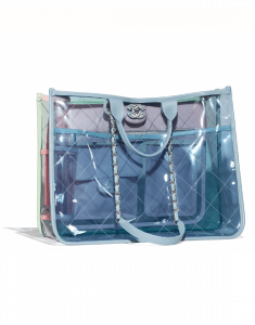 Chanel Blue/Green/Pink PVC Coco Splash Medium Shopping Bag