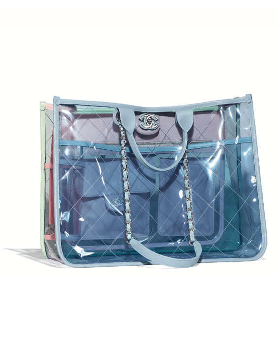 08a0e5b9136d24 Chanel Blue/Green/Pink PVC Coco Splash Medium Shopping Bag