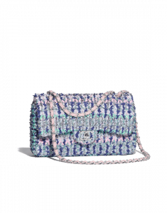 Chanel Blue/Pink/Turquoise Knit Medium Flap Bag