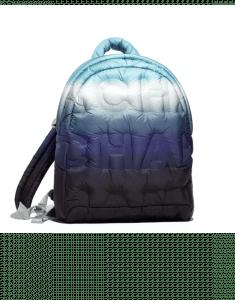 Chanel Blue/Turquoise/Black/White Embossed Nylon Doudoune Backpack Bag