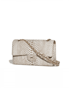 Chanel Brown/White Python with Braided Chain Classic Flap Medium Bag