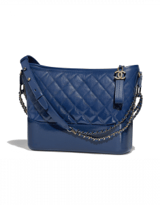 Chanel Dark Blue Goatskin Gabrielle Hobo Bag