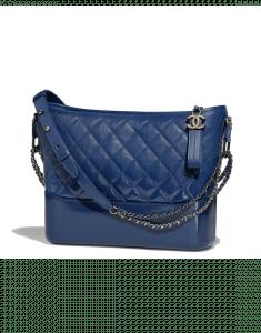 Chanel Dark Blue Goatskin Gabrielle Hobo Bag