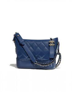 Chanel Dark Blue Goatskin Gabrielle Small Hobo Bag