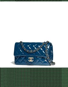 Chanel Dark Blue Patent Calfskin Mini Flap Bag