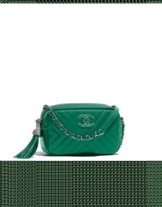 Chanel Green Calfskin Mini Camera Case Bag