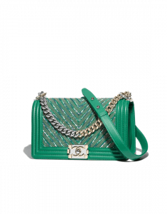 Chanel Green Calfskin/Chain/Tweed Boy Chevron Old Medium Flap Bag