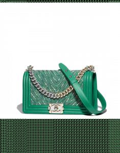 Chanel Green Calfskin/Chain/Tweed Boy Chevron Old Medium Flap Bag