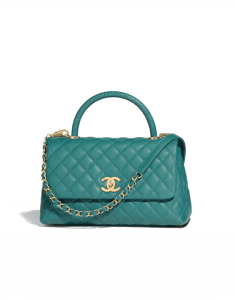Chanel Green Calfskin/Lizard Small Coco Handle Bag