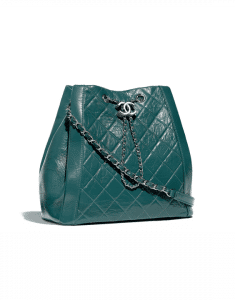 Chanel Green Crumpled Calfskin Drawstring Bag
