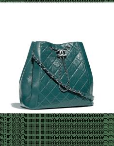 Chanel Green Crumpled Calfskin Drawstring Bag
