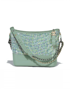 Chanel Green/Blue/Yellow/White Tweed/PVC Gabrielle Hobo Bag