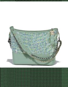 Chanel Green/Blue/Yellow/White Tweed/PVC Gabrielle Hobo Bag