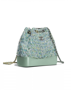 Chanel Green/Blue/Yellow/White Tweed/PVC Gabrielle Small Backpack Bag