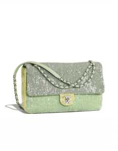 Chanel Green/Light Green/Yellow Sequins Large Flap Bag