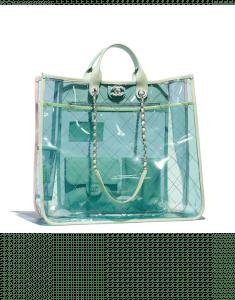 Chanel Green/Pink PVC Coco Splash Large Shopping Bag