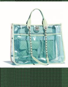 Chanel Green/Pink PVC Coco Splash Medium Shopping Bag