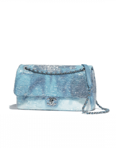 Chanel Light Blue/Turquoise Sequin Waterfall Large Flap Bag