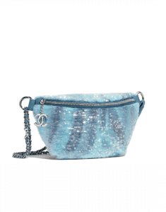 Chanel Light Blue/Turquoise Sequin Waterfall Waist Bag