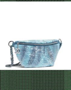 Chanel Light Blue/Turquoise Sequin Waterfall Waist Bag