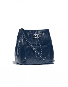 Chanel Navy Blue Aged Calfskin Small Drawstring Bag