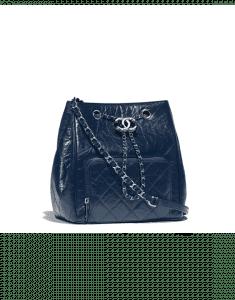 Chanel Navy Blue Aged Calfskin Small Drawstring Bag