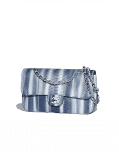 Chanel Navy Blue Python Classic Flap Medium Bag
