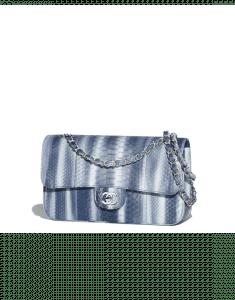 Chanel Navy Blue Python Classic Flap Medium Bag