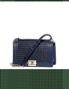 Chanel Navy Blue/Black Braided Lambskin Boy Chanel Old Medium Flap Bag