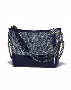 Chanel Navy Blue/Black/White Tweed/PVC Gabrielle Hobo Bag