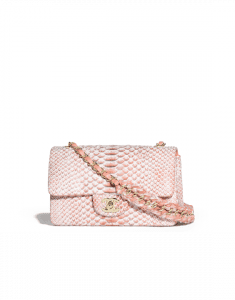 Chanel Orange/White Python with Braided Chain Classic Flap Mini Bag