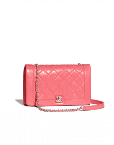 Chanel Pink Crumpled Calfskin Bi Quilted Small Flap Bag