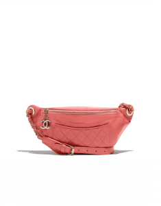 Chanel Pink Crumpled Calfskin Bi Quilted Waist Bag