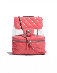 Chanel Pink Crumpled Calfskin/PVC Flap Bag