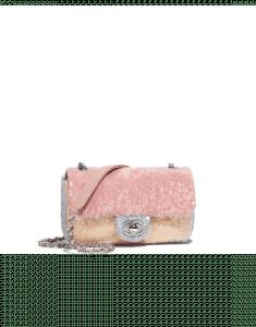 Chanel Pink/Beige/Gray Sequins Mini Flap Bag