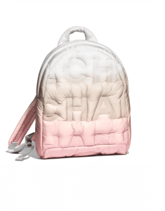 Chanel Pink/Beige/White Embossed Nylon Doudoune Backpack Bag