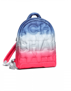 Chanel Pink/Blue/White Embossed Nylon Doudoune Backpack Bag