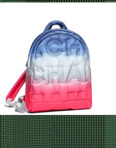 Chanel Pink/Blue/White Embossed Nylon Doudoune Backpack Bag