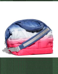 Chanel Pink/Blue/White Embossed Nylon Doudoune Large Zipped Shopping Bag