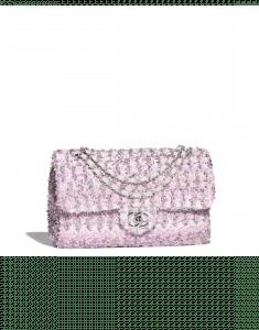 Chanel Pink/White Knit Medium Flap Bag