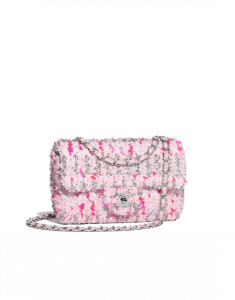 Chanel Pink/White/Dark Pink Knit Small Flap Bag