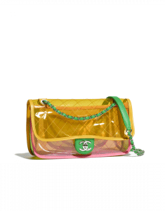 Chanel Pink/Yellow PVC Coco Splash Medium Flap Bag