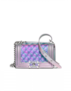 Chanel Purple PVC/Iridescent Patent Boy Water Mini Flap Bag